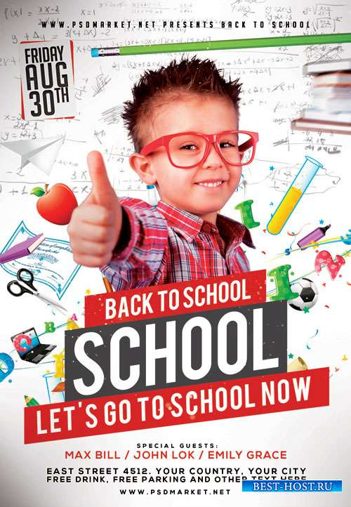 School back - Premium flyer psd template