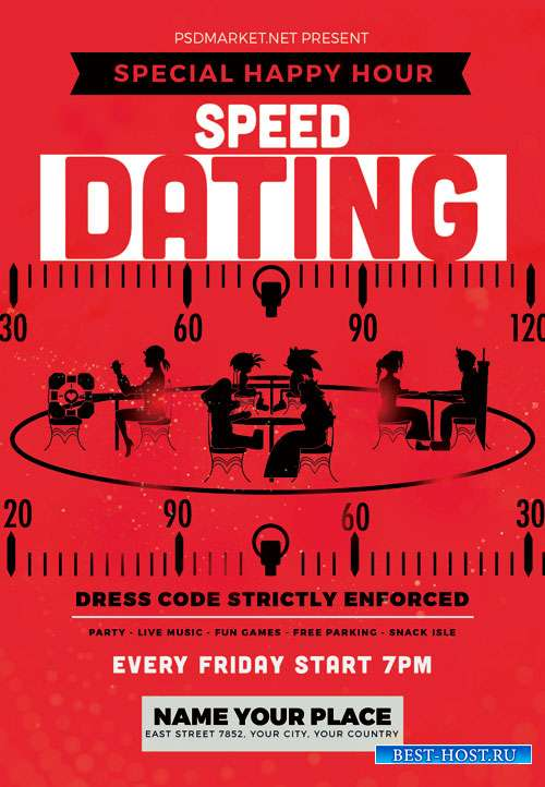 Speed dating party night - Premium flyer psd template