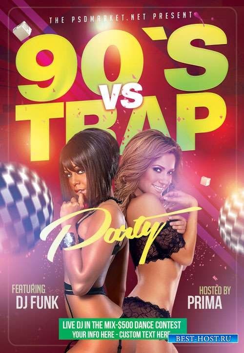 90s vs trap - Premium flyer psd template