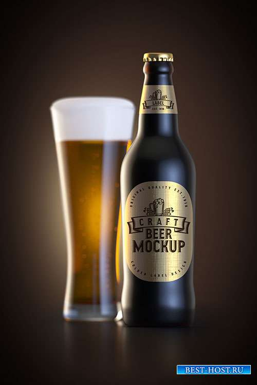 Beer glass and bottle with label mockup
