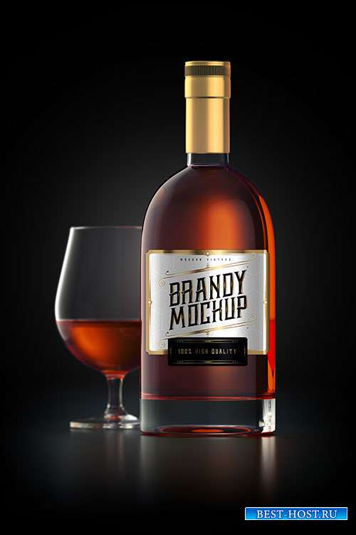 Mockup of a brandy glass bottle with label