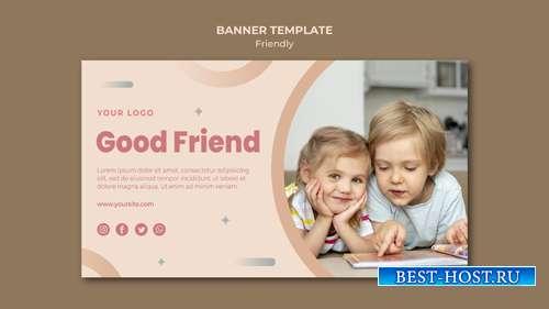 Good children friends banner web template