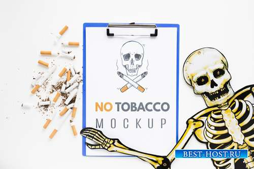 No smoking mock-up with skeleton