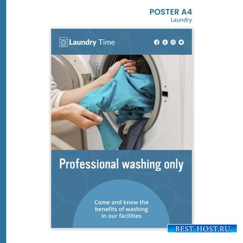 Laundry service poster template