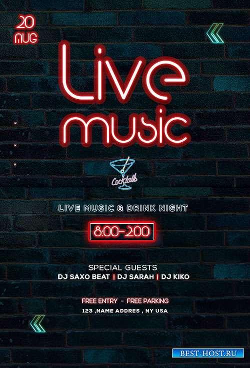 Live Music Neon - Premium flyer psd template
