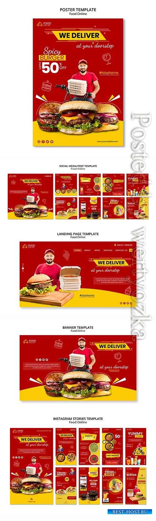 Food online concept banner mock-up