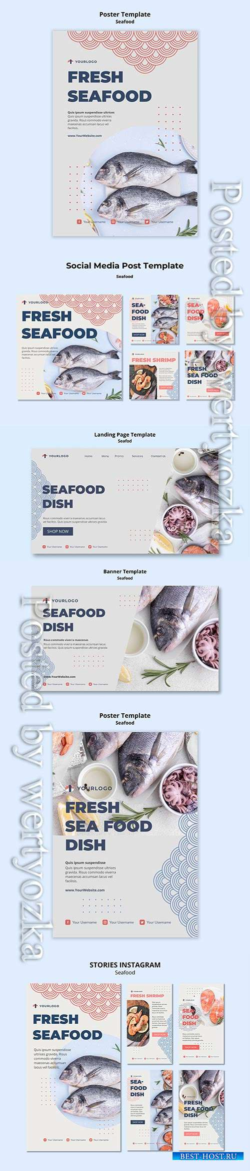 Seafood concept social media post template