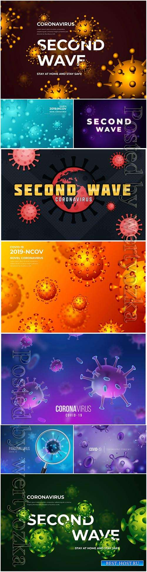 Realistic coronavirus vector background, stop covid-19 vol 7