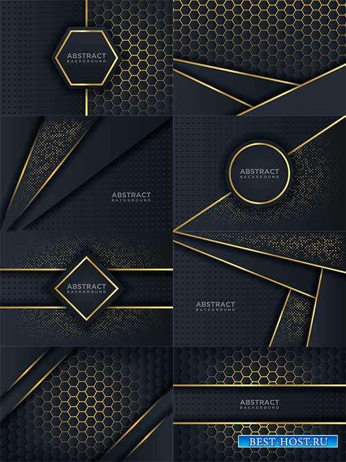 Тёмные фоны с золотыми линиями в векторе