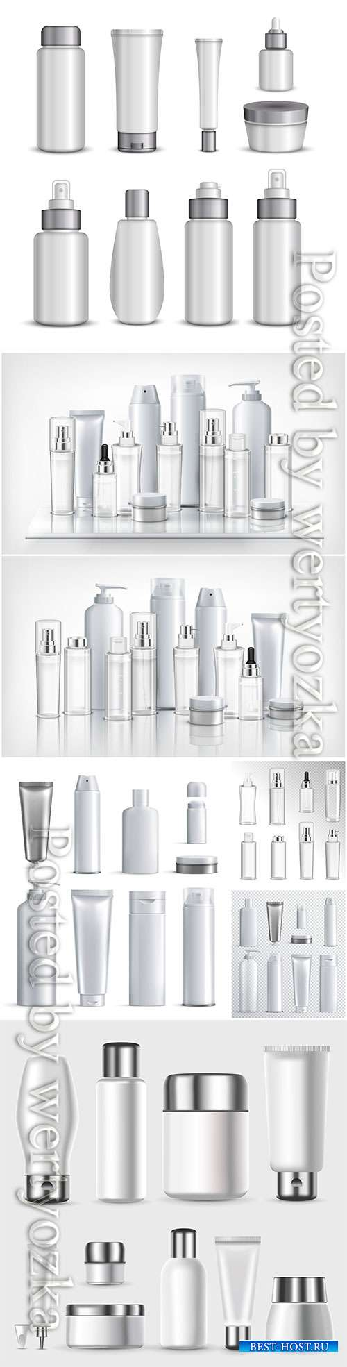 Set of cosmetics plastic bottles