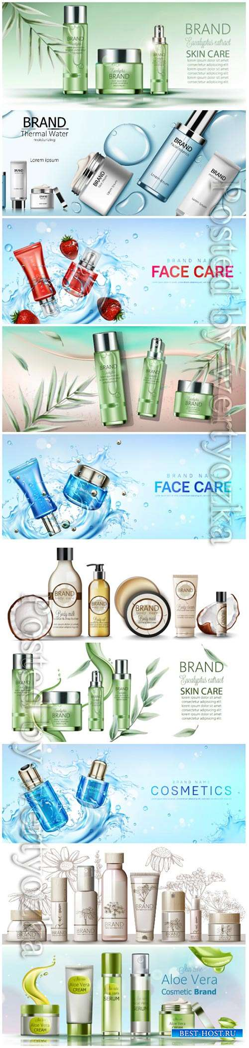 Realistic cosmetic products advertising vector template 3