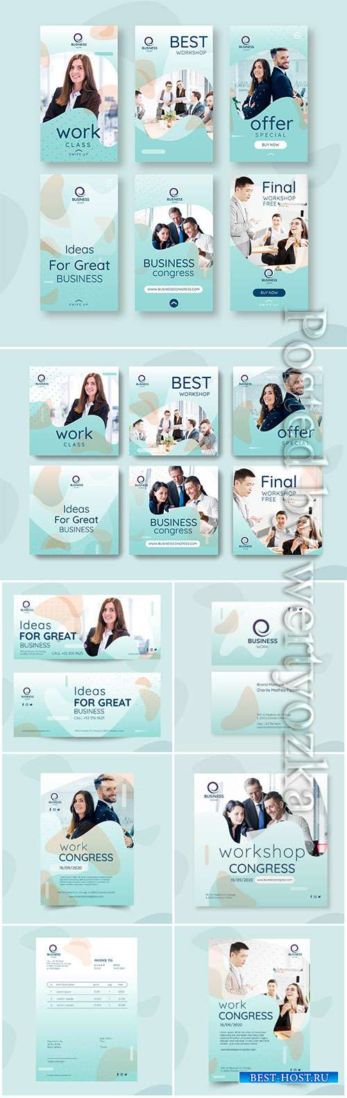 Business flyer, social media post template vector collection