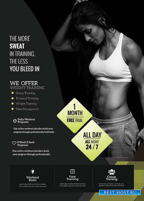 Fat Burns -Fitness  - Premium flyer psd template