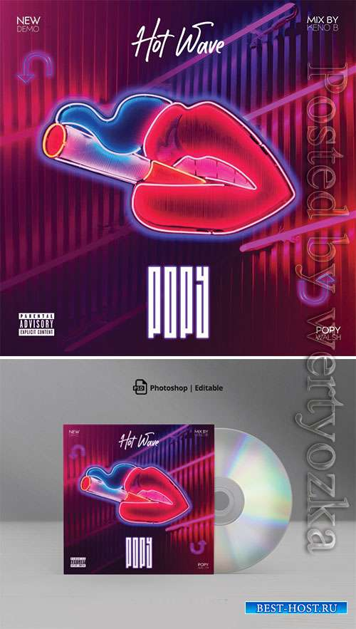 Neon Hot Wave Mixtape CD Cover Artwork