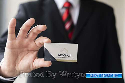 Businessman holding business card mock-up