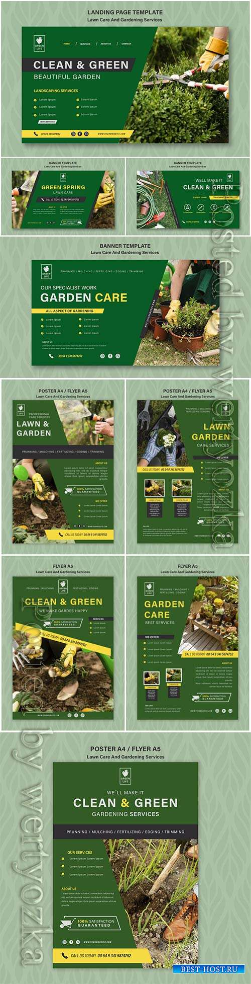 Lawn care concept banner template