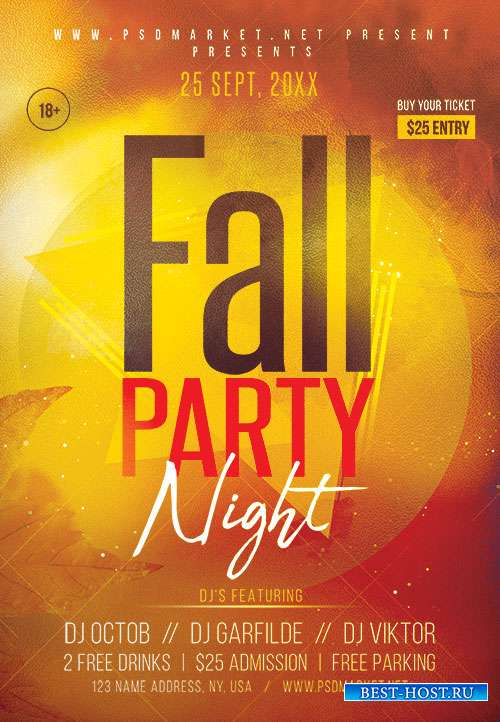 Fall party night - Premium flyer psd template