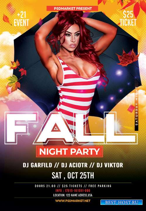 Fall night party - Premium flyer psd template