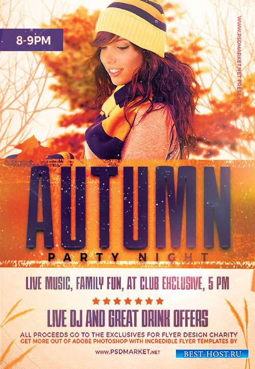 Autumn party night - Premium flyer psd template