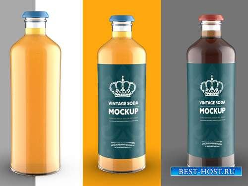 Vintage Style Soda Bottle Colored Mockup