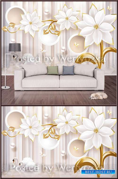 3D psd background wall swans white flowers