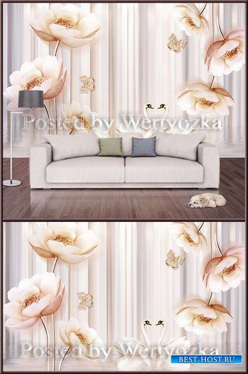 3D psd background wall flowers swans buttons