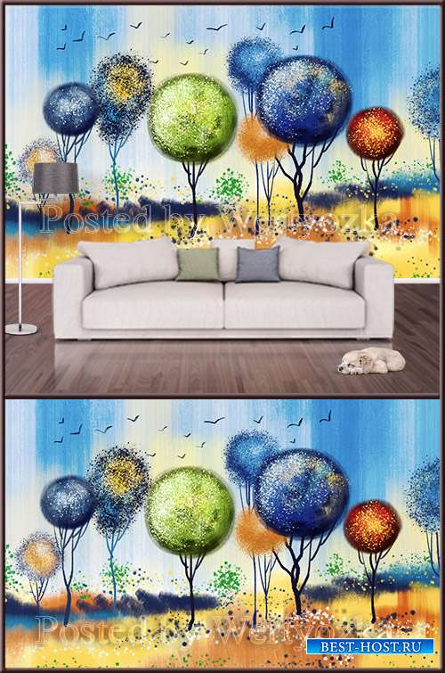 3D psd background wall color abstract trees