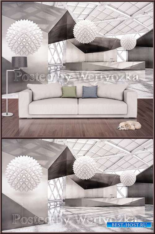 3D psd background wall abstraction white balls