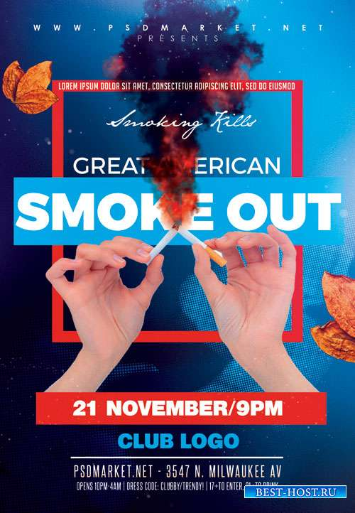 Great american smoke out - Premium flyer psd template