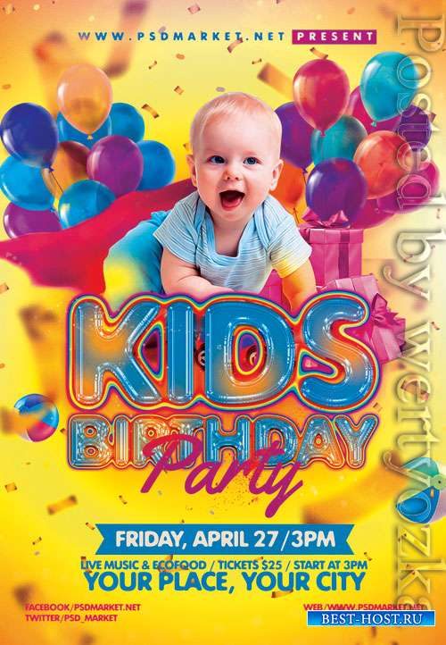 Kids birthday event - Premium flyer psd template