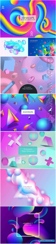 Colorful fluid 3d shape vector background