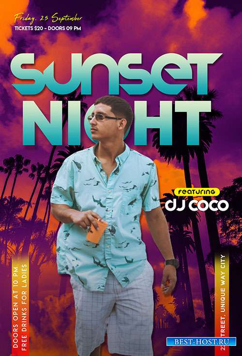 Sunset Night - Premium flyer psd template