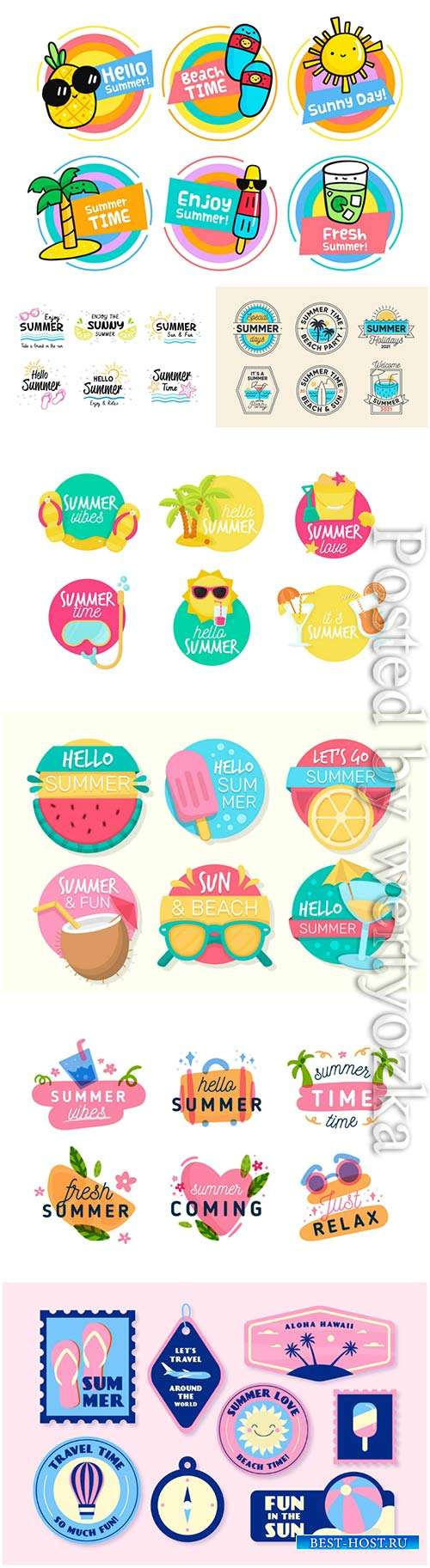 Summer labels vector collection # 12