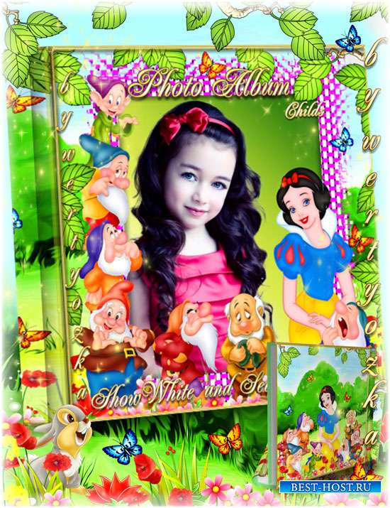 Children's photo album with fairy-tale characters Snow White and the Seven Dwarfs