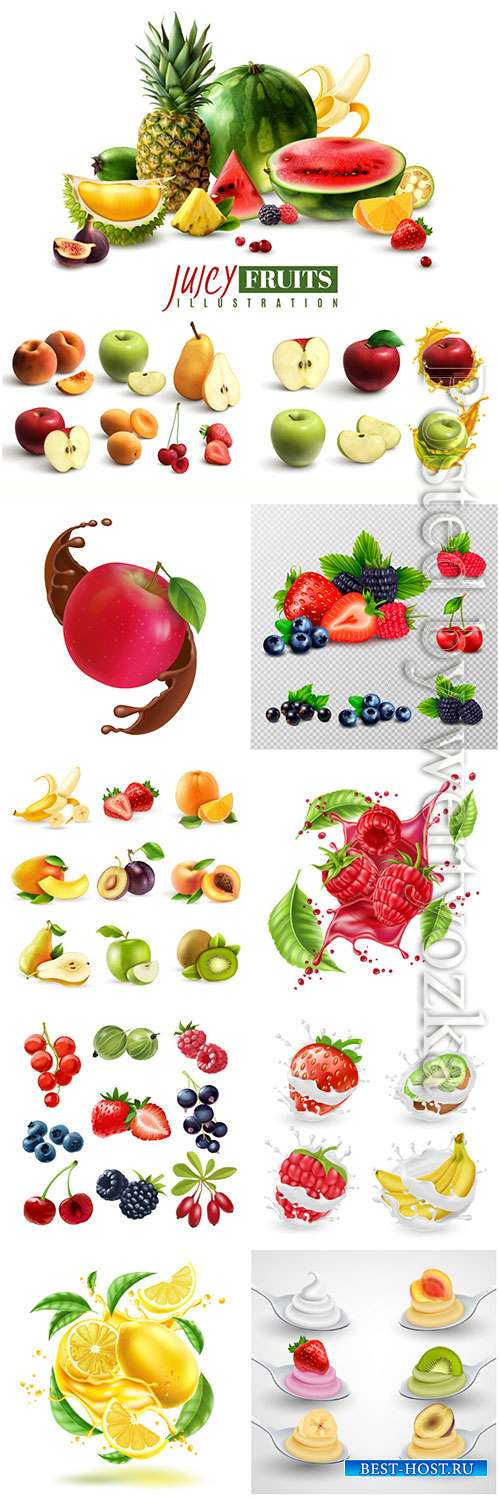 Fresh fruits and berries in vector, advertising posters