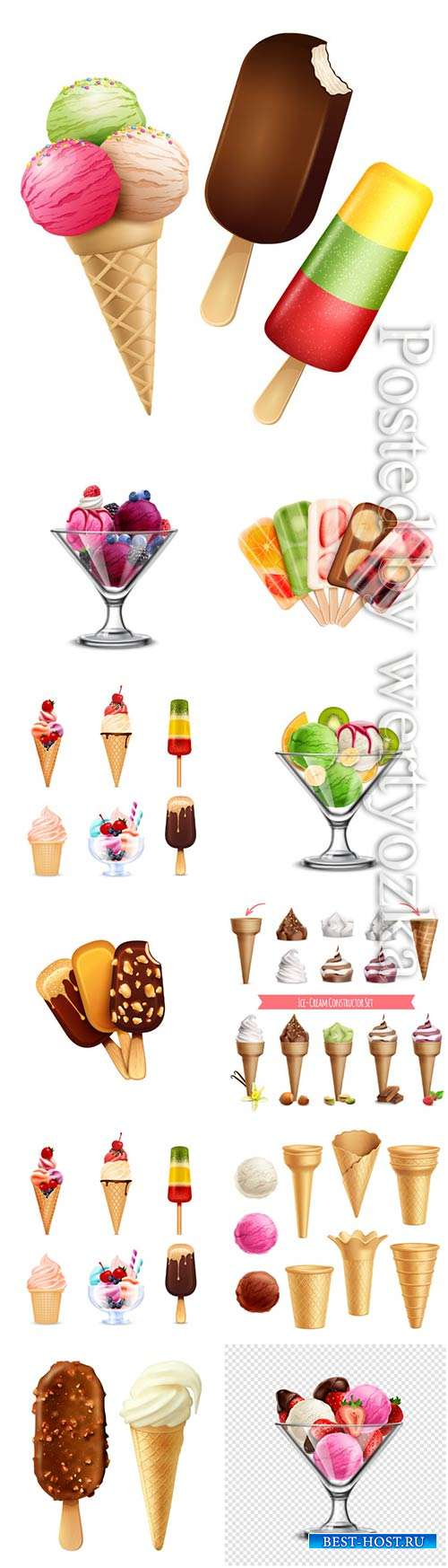 Ice cream platter, chocolate and vanilla ice cream with berries in vector