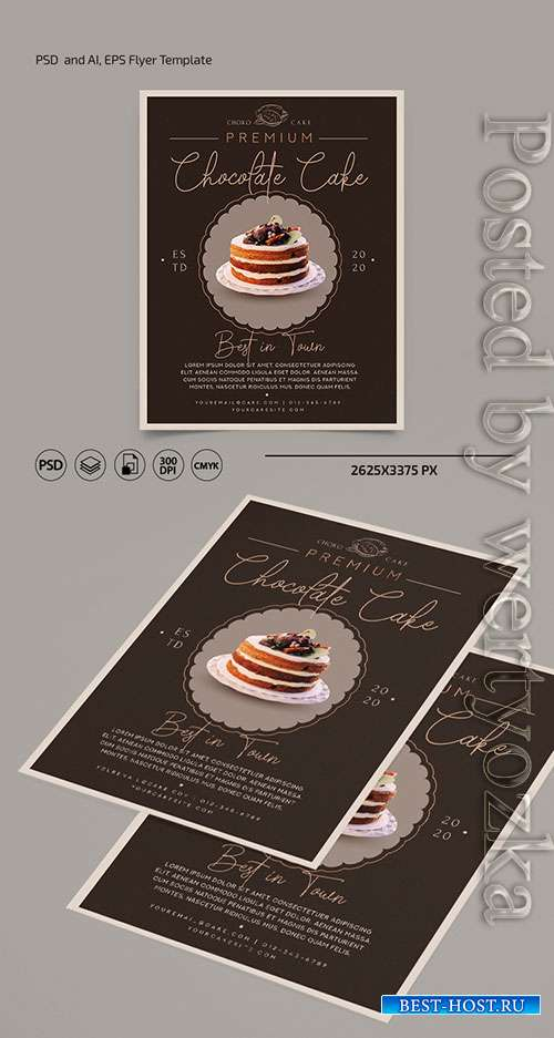 Cake flyer template in psd + ai