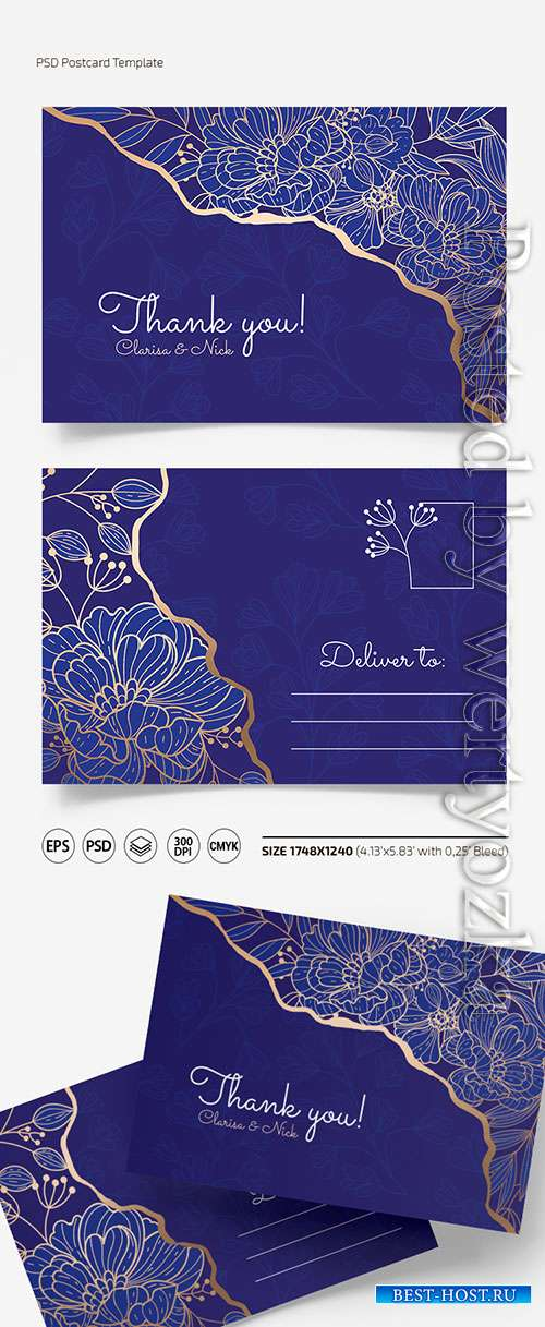 Floral postcard templates in psd + eps