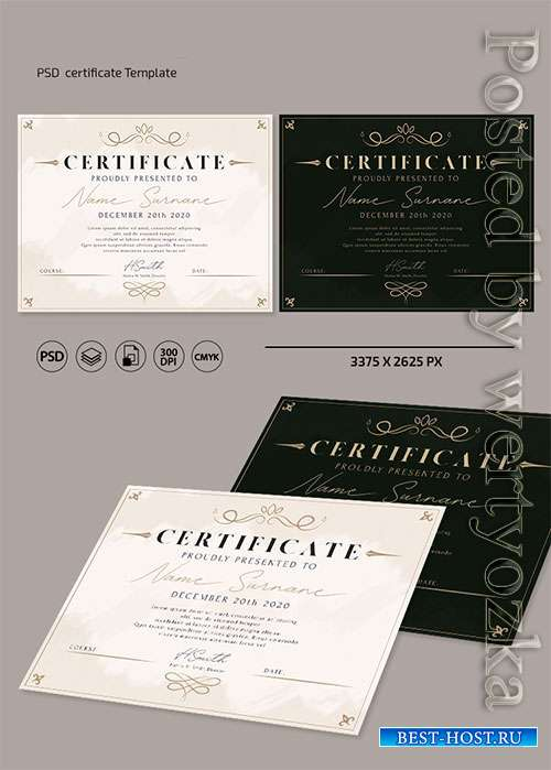 Certificate and Diploma template in psd