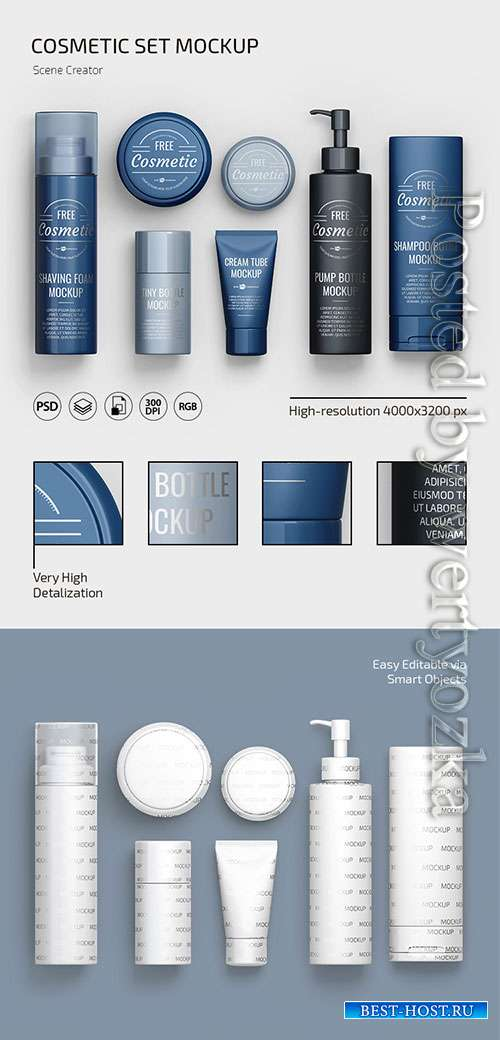 Cosmetic set scene creator mockup in psd