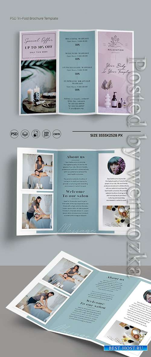 Massage trifold brochure templates in psd