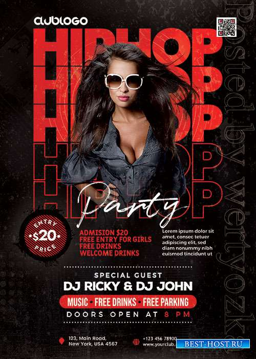 Hip Hop Music Party Flyer PSD Template
