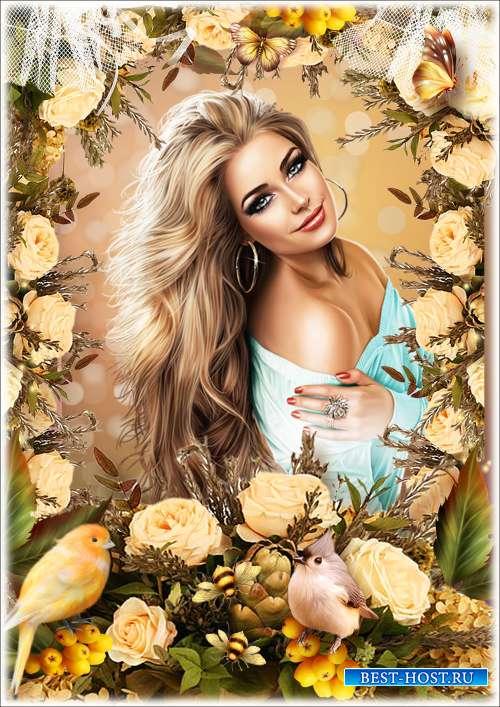 Цветочная рамка для фотошопа - Осенние цветы