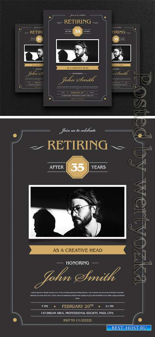Retirement Invitation Flyer Psd Template