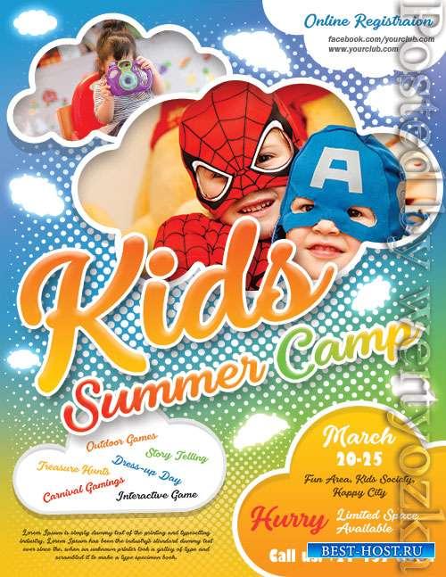 Kids Summer Camp Flyer Design Psd Template