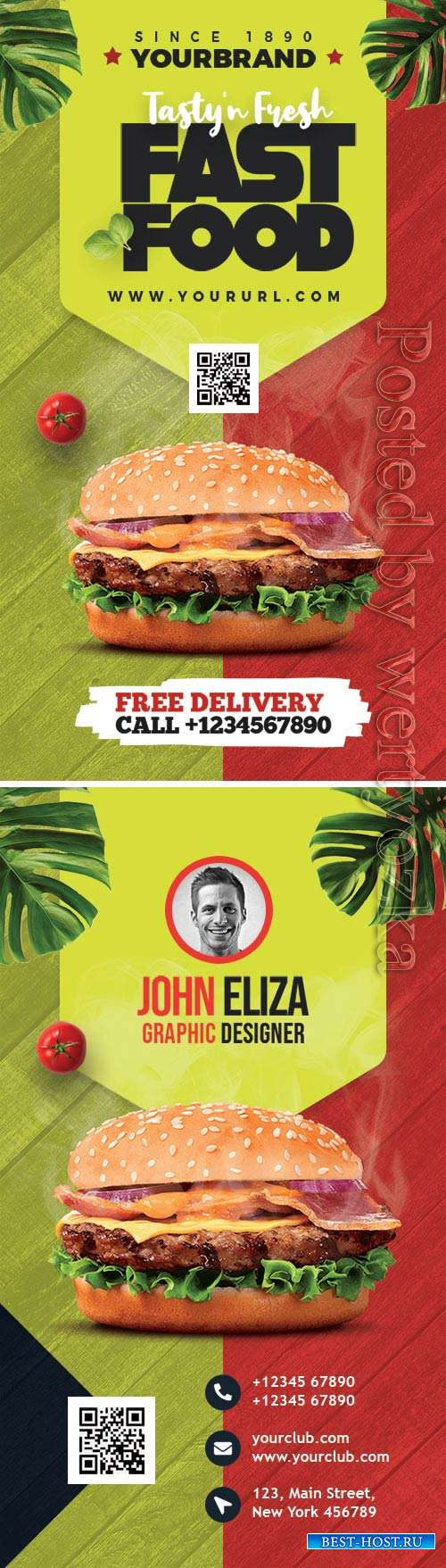 Restaurant Designer Business Card PSD Template