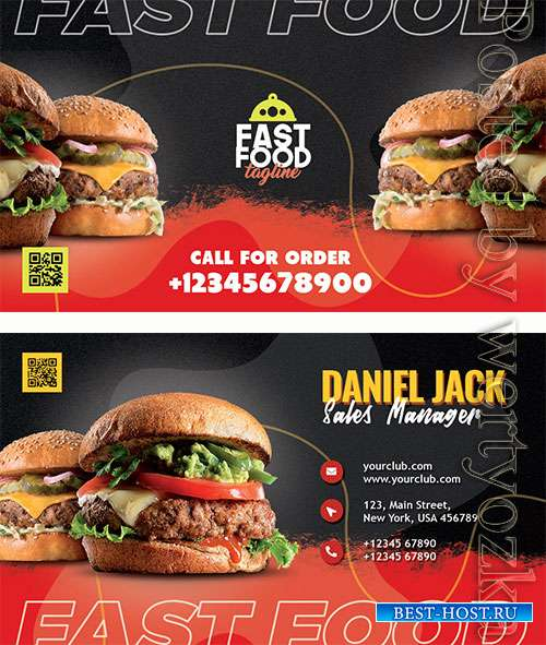 Restaurant Fast Food Business Card PSD