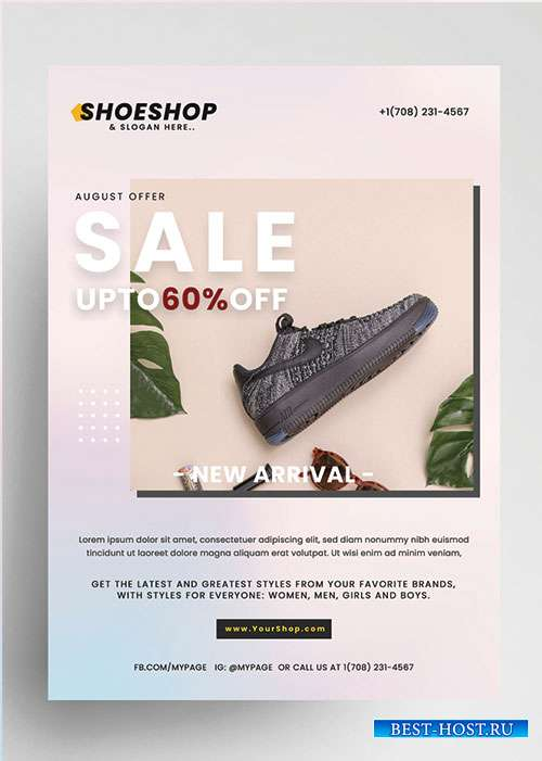 Sale shoes psd flyer template