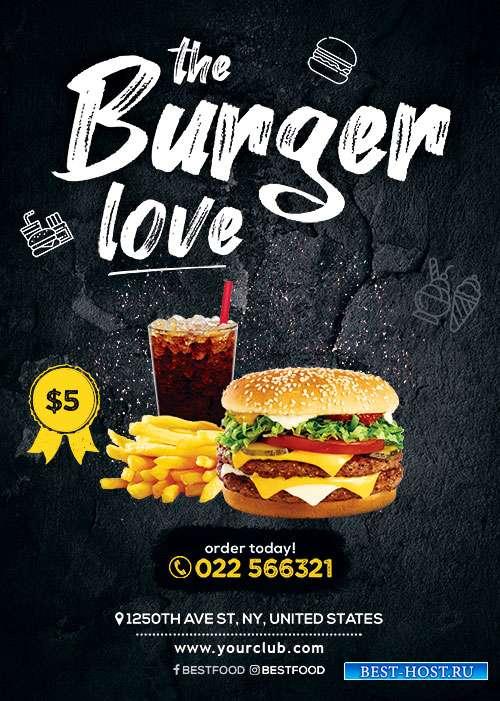 Burger love psd flyer template