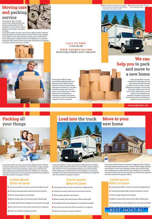 Moving and packing psd flyer templates